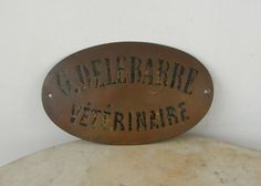 FRENCH VETERINARIAN SIGN Brass Antique Authentic Convex Oval Shape Advertising…