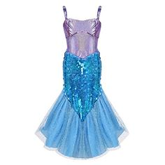 d5be24cb4c96 FEESHOW Girls Sequined Little Mermaid Princess Costumes Fancy Party Dress  up Clothes #Princess #Halloween