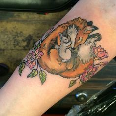 My unlikely fox & bunny friendship tattoo. Done by Katie at Jackalope Tattoo in MPLS, MN