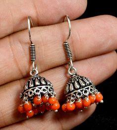 Jhumki Handmade Hook 925 Sterling Silver Plated Designer Earrings Jewelry KED200 #krsnajewels #DropDangle