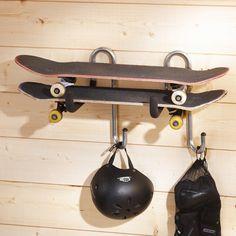 Buy the 2 x Multi Purpose Double Hangers from STORE Hooks today! A part of our Garage Hooks & Storage Racks range. Boys Skateboard Room, Skateboard Storage, Skateboard Furniture, Garage Storage Racks, Bike Storage, Boy Sports Bedroom, Kids Bedroom, Bedroom Ideas, Ikea Deco