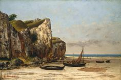 A French lugger, beached and drying nets. The lugsail is spread on the beach. She is beached stern first as is normal. In beach-launched boats, the bow is designed to rise to surf without shipping water or broaching. Painted by Gustave Courbet around 1874.