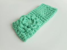 Winter Ear Warmer Headband in Mint with Large Rose by luvbuzz