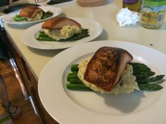 Grilled Salmon over Pureed Mashed Potatoes and Asparagus.   http://www.chefkevwinston.com/