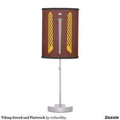 Viking Sword and Plaitwork Desk Lamp.  Sunday Steal: 50% Off Dry Erase Boards, Clipboards & Desk Lamps USE CODE: ZSUNSTEAL182  Offer is valid through June 11, 2017 11:59PM PT.  #Zazzle #Sunday_steal #desk_lamp #table_lamp #lamp #Viking_sword #medieval_sword #dark_age_sword #sword #Viking_plaitwork #plaitwork