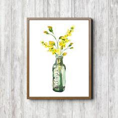 233758fd524 Watercolor Flowers In A Bottle   Vase Wall Art - Wild Flowers Print -  Kitchen Poster - Office Wall Decor- Yellow Floral Bouquet Art- Digital