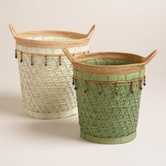 Woven Rattan Basket with Beads | World Market
