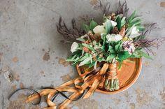 gold ribbon bouquet