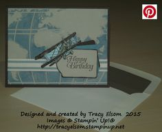 Masculine birthday card created using the World Traveler Textured Impressions Embossing Folder from Stampin' Up 2016 Occasions Catalogue and the Sky Is The Limit Stamp Set from the 2016 Sale-A-Bration Brochure.  http://tracyelsom.stampinup.net