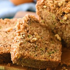 May 2019 - This Zucchini Bread recipe is a delicious quick bread that's loaded with tender zucchini, walnuts, and cinnamon – you can add lemon or chocolate chips too! Zucchini Bread Muffins, Gluten Free Zucchini Bread, Zucchini Bread Recipes, Banana Bread Recipes, Zucchini Bread With Pineapple, Bran Bread Recipe, Zuchinni Desserts, Large Zucchini Recipes, Zucchini