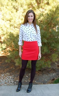 red mini skirt, black booties, mini skirt and tights