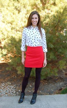 red mini skirt, black booties, mini skirt and tights