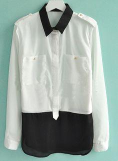 White Studded Epaulet and Pockets Long Sleeve Blouse