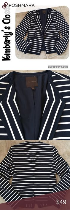 ✨THE LIMITED✨ blazer THE LIMITED navy / white striped blazer.  Single button style to flatter your waistline.  Lightly padded shoulders for extra structure.  Outshell is 74% polyester, 22% viscose rayon, 4% spandex.  Fully lined - 100% polyester.  Dry clean only.  Only worn one time - excellent condition. The Limited Jackets & Coats Blazers