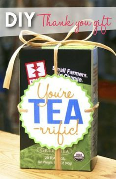 You're TEA-rrific... here's an easy DIY thank you gift idea for teachers gifts or Mother's Day! Click for instructions & template: http://fairandsquareimports.com/blog/tea-thank-you
