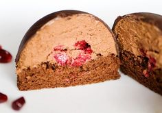 Chocolate mousse bomb by use real butter Gourmet Desserts, Fancy Desserts, Great Desserts, No Bake Desserts, Delicious Desserts, Dessert Recipes, Plated Desserts, Chocolate Mousse Cake, Chocolate Bomb
