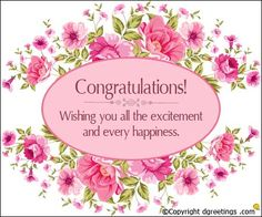 Congratulations Messages - Beautiful collection of wedding congratulation messages, graduation congrats SMS, wishes with many baby congratulatory messages. Engagement Quotes Congratulations, Engagement Wishes, Hearty Congratulations, Congratulations Greetings, Wedding Congratulations Card, Anniversary Greetings, Engagement Cards, Marriage Anniversary, Anniversary Cards