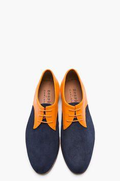 CARVEN Orange & Navy Two-Tone Leather Derbys