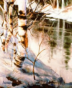 Birch By Stream by Teresa Ascone - Birch By Stream Painting - Birch By Stream Fine Art Prints and Posters for Sale Abstract Tree Painting, Painting Snow, Watercolor Trees, Watercolor Artwork, Watercolor Landscape, Landscape Paintings, Abstract Art, Pastel, Winter Trees