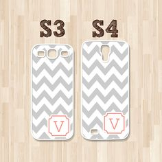 Personalized Samsung Galaxy S3 Case, Samsung Galaxy S4 Case, Gray Chevron Coral Corner Initial, Phone Case, Christmas Gift (329)