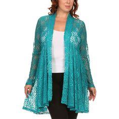 Pretty Young Thing Teal Lace Flyaway Cardigan ($25) ❤ liked on Polyvore featuring plus size women's fashion, plus size clothing, plus size tops, plus size cardigans, sheer top, blue cardigan, floral lace cardigan, layering cardigans and blue floral cardigan