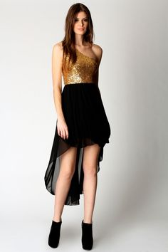 Cameron One Shoulder Sequin Top Mixi Dress