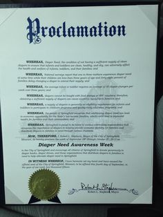 Springfield, MO - Mayoral proclamation recognizing Diaper Need Awareness Week (Sept. 28 - Oct. 4, 2015) #DiaperNeed www.diaperneed.org