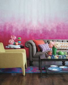 eclectic living room by Bloomingdales - maybe not the color but love the effect of this wall treatment