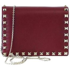 Preowned Valentino Garavani Bag Red Mini Rock Stud Clutch Cross Body... ($2,275) ❤ liked on Polyvore featuring bags, handbags, clutches, red, studded purse, studded crossbody purse, valentino handbags, mini pochette and crossbody purse