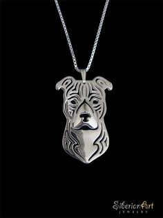 American Staffordshire Terrier natural ears  by SiberianArtJewelry, $99.00