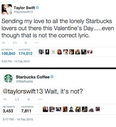 Taylor Swift Tweeted About 'Starbucks Lovers' And Starbucks Tweeted Her Back | Pink is the New Blog