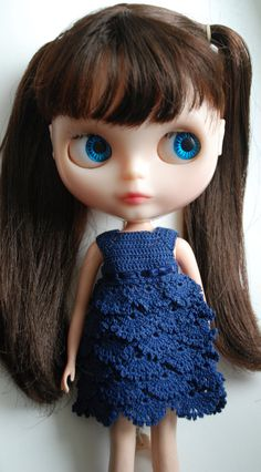 It is crochet dress for Blythe doll.  This dress is dark blue color.  Dress is crochet 100% cotton, decorated with satin ribbon and mcro mini bow