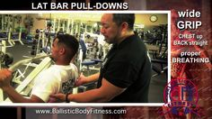 Lat pull downs for a strong back - BBF 90 Day Fitness Challenge Instruction video #35.  Ballistic Body Fitness / Personal Trainer Burbank