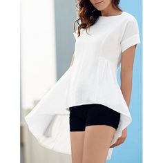 13.74$  Watch now - http://di1ns.justgood.pw/go.php?t=176982704 - Stylish Women's Round Neck Short Sleeve Asymmetrical T-Shirt