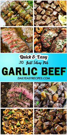 Garlic beef dishes are simple to cook yet incredibly good. Beef is rich in protein (but lower in carbs than other red meats) and garlic is loaded with vitamins, minerals and a distinct flavor. Beef Cube Steak Recipes, Beef Fajita Recipe, Beef Recipes, Cooking Recipes, Recipies, Simply Recipes, Clean Recipes, Healthy Recipes, Beef Casserole Recipes