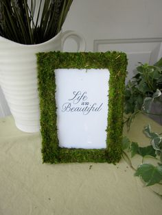 Table Number Frames, 20 Moss Covered Frames for Wedding or Party size Diy Wedding, Rustic Wedding, Dream Wedding, Rustic Table Numbers, Brindille, Guest Book Table, Table Frame, Garden Theme, Nature Decor