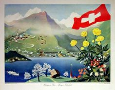 Switzerland by Gerbig, 1955 - one of a set of four original vintage posters featuring Switzerland in every season (spring, summer, autumn, winter), listed on AntikBar.co.uk