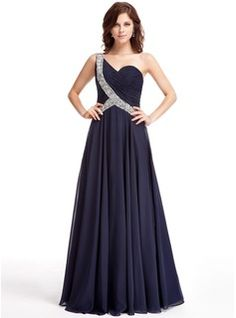 A-Line/Princess One-Shoulder Floor-Length Chiffon Evening Dress With Ruffle Beading (017025321)