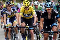 Chris Froome's Sky team kept him well protected throughout the Alpe d'Huez.   Stage 18 TDF 2013.