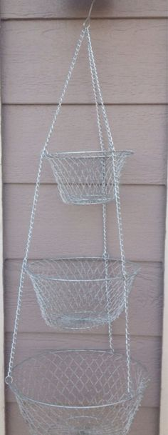 Awesomely Retro Silver 3 Tier Hanging Basket Fruit by RetroRetake