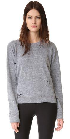 MONROW Heather Vintage Crew Sweatshirt   SHOPBOP