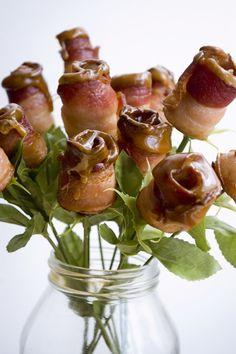 Bourbon caramel-tipped bacon roses