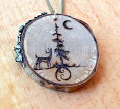 Pyrography birch ornament