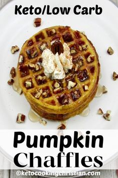 Keto Pumpkin Chaffles Chaffles make a great substitute for waffles! They are quick and easy to make, and have great pumpkin flavor, perfect for fall! Tapas, Pumpkin Pie Fat Bombs, Easy To Make Breakfast, Breakfast Ideas, Sugar Free Maple Syrup, Roasted Pecans, Cheese Pumpkin, Homemade Pancakes, Pumpkin Recipes