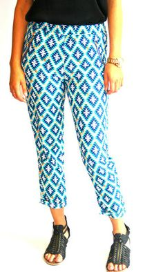 Blue aztec print summer trousers