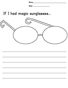 "5 versions (different sizes of lines, empty box, no lines/box) for different levels of writers, ""If I had magic sunglasses"" can be used in response to a book (Pete the Cat Magic Sunglasses) or stands alone as a creative writing topic. Students can color in the lens to match their writing. You could also have the students cut out the lens, peek through, and take a picture to share."