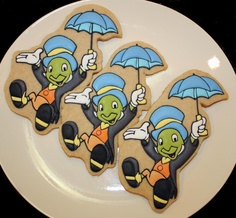Jiminy Cricket Cookies From a Pinocchio Baby Shower