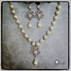 Bridal Jewelry Set Wedding Jewelry Set  Bridal Pearl by Glitzette