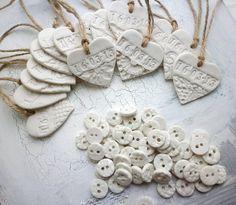 handmade porcelain heart wedding favour by hodgepodgearts | notonthehighstreet.com