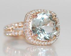 on hold till Friday -Aquamarine Ring Rose Gold 18K Engagement Ring 4.15ct Blue Green Aquamarine